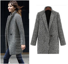 Plus Größe S-4xl Frau Plaid Wolle Mischung Cape Mantel Grau Tweed Langarm Single Button Wolle Mantel Graben Mantel Jacke abrigos(China)