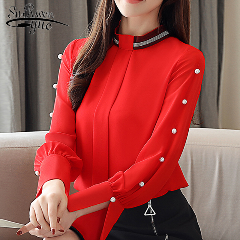 fashion woman   blouses   2019 solid chiffon   blouse     shirt   office work wear long sleeve women   shirts   womes tops and   blouses   2194 50