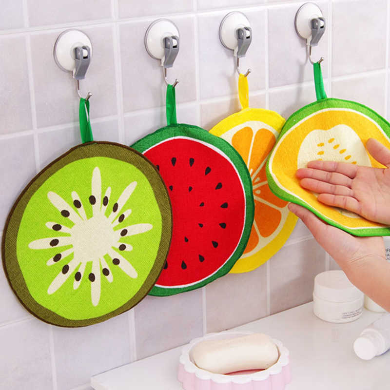 Hand Towel Children's Handkerchief Kitchen Strong Water Absorption Cartoon 1PC Hand Towel Home Cute Fruit Shaped Hanging Type