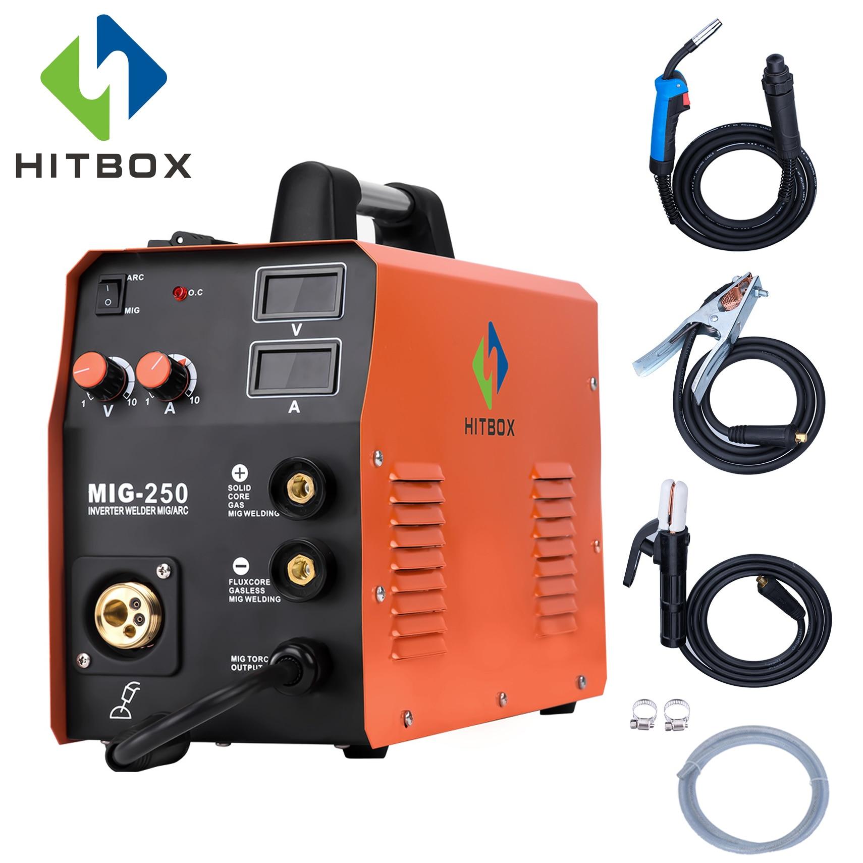 HITBOX MIG250 Multi-Função de Soldador Mig MIG TIG ARC Soldador de Gás Máquina De Solda Mig Sem Gás 220 V Casa uso Da Máquina De Fábrica