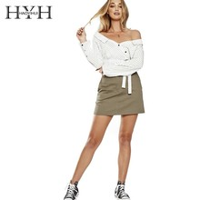 HYH HAOYIHUI  Sexy Shoulder Stripes Waist Strap Wrapped Design Long Sleeve Shirt