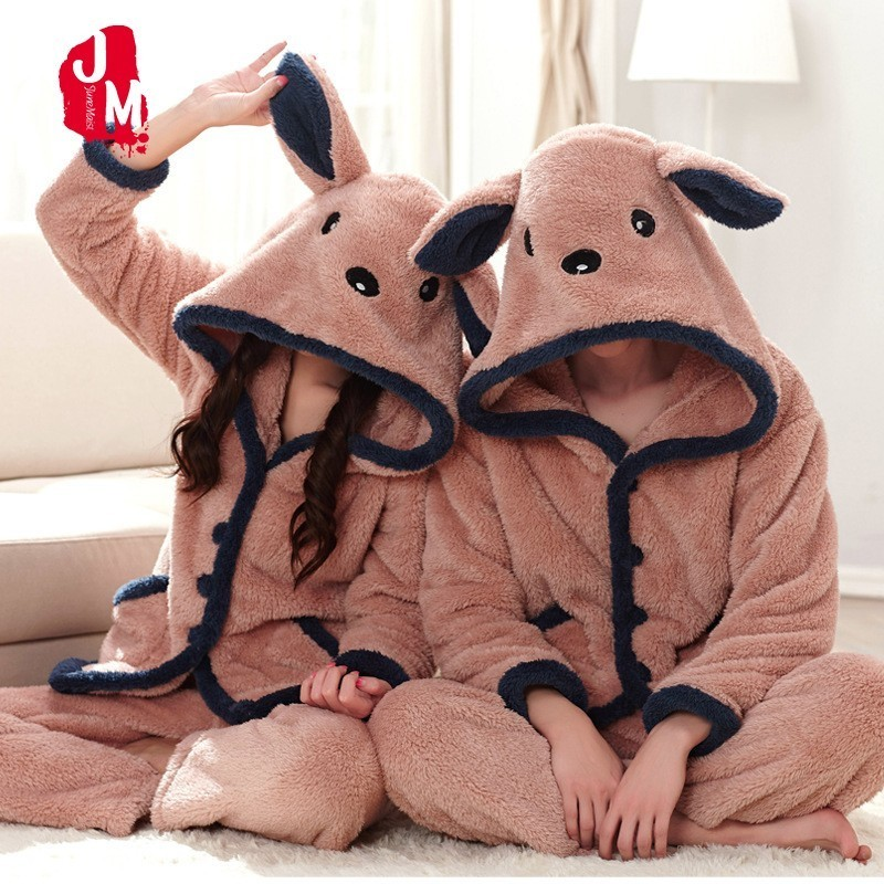 Winter Couple Coral Fleece Pajamas Bear Flannel Warm Long Sleeve Hooded Mens Pyjamas Women's Sleep Lounge Couple Pajama Sets