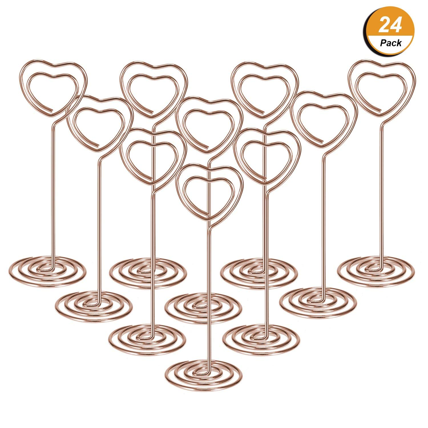 24 Pack Of Table Number Card Holders Photo Holder Stand Place Card Paper Menu Clips Holders, Heart Shape (Rose Gold)