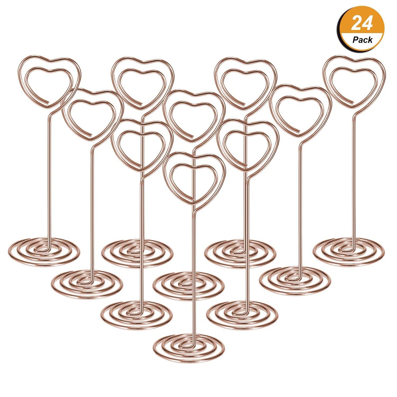 24 paquetes de soportes para números de mesa soporte para fotos clips de papel para menú, forma de corazón (oro rosa)|Tarjetero y soporte de notas|   -