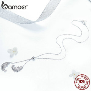 Image 4 - BAMOER Vintage Genuine 925 Sterling Silver Feathers Shape Long Chain Feather Necklaces Pendants Sterling Silver Jewelry SCN322
