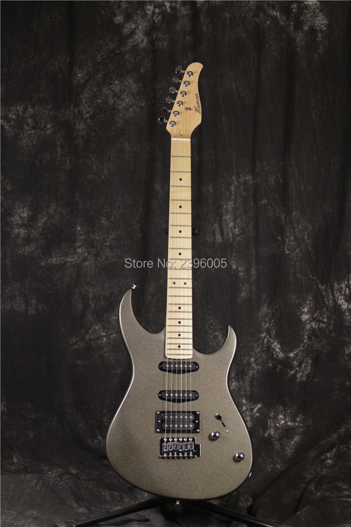 Human pro strat electric guitar,metal gray finish.Chinese OEM factory guitar ,free shipping st guitar