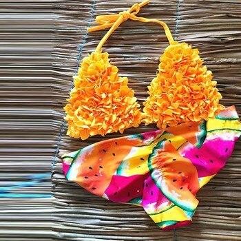 2019 women Bandage push up swimsuit Halter micro bathing suit Yellow print bikini sexy swimwear ruffle bathers Summer new