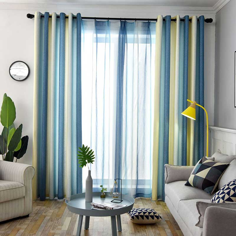 Bedroom Sliding Door Curtains Bedroom Athletics Uk Wooden Bedroom Bench Blue And Yellow Bedroom Ideas: Nordic Style High Shading Striped Curtains For Living Room