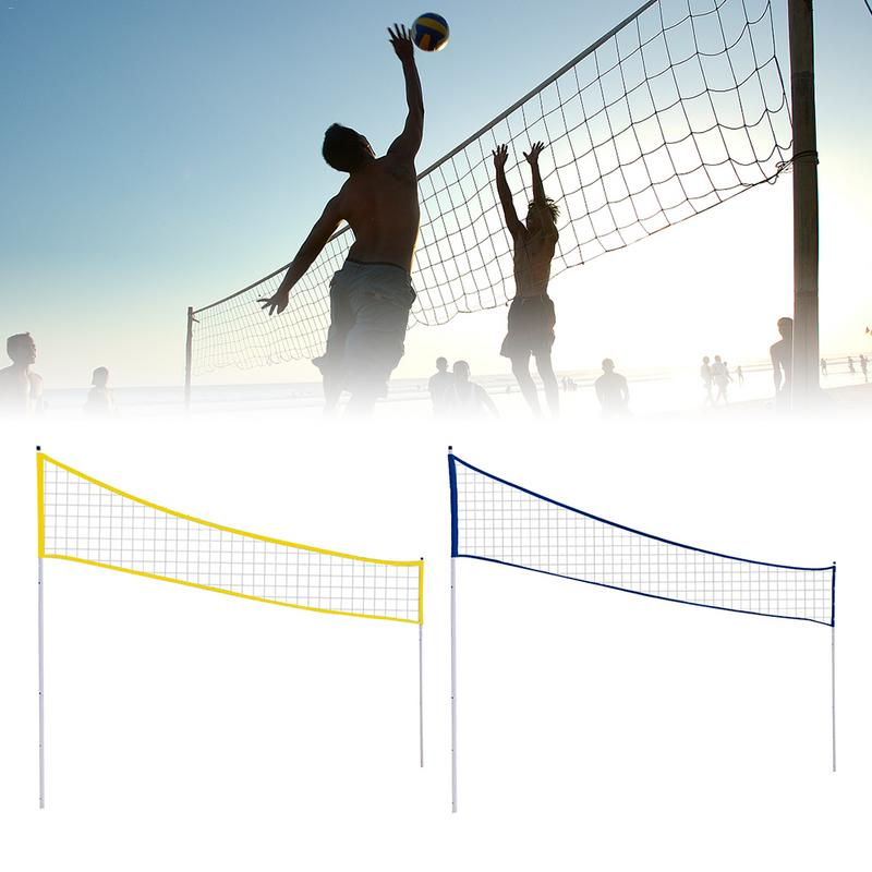 Outdoor Portable Volleyball Net Folding Adjustable Volleyball Badminton Tennis Net With Stand Pole For Beach Grass Park Outdoor