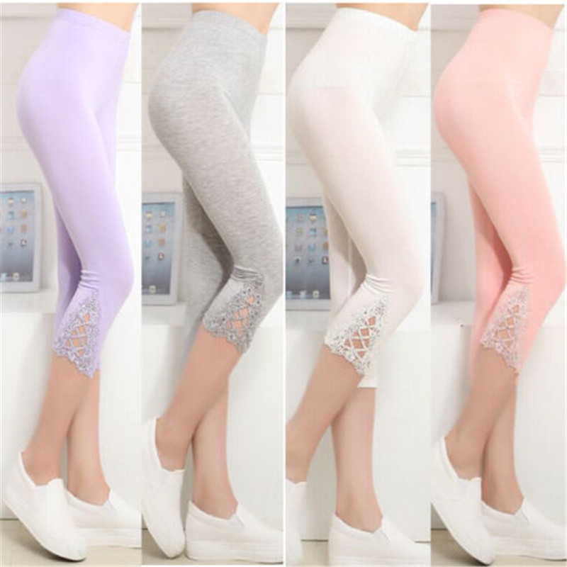 2019 Women Elastic Lace Bodycon Slim   Leggings   Solid Print Fitness   Leggings   thin three quarter Sports Trousers 5 colors