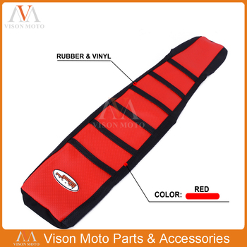 Motorcycle Ribbed Red Gripper Soft Seat Cover For HONDA CR125 CR250 CR 125 250 1994 1995 1996 94 95 96 image