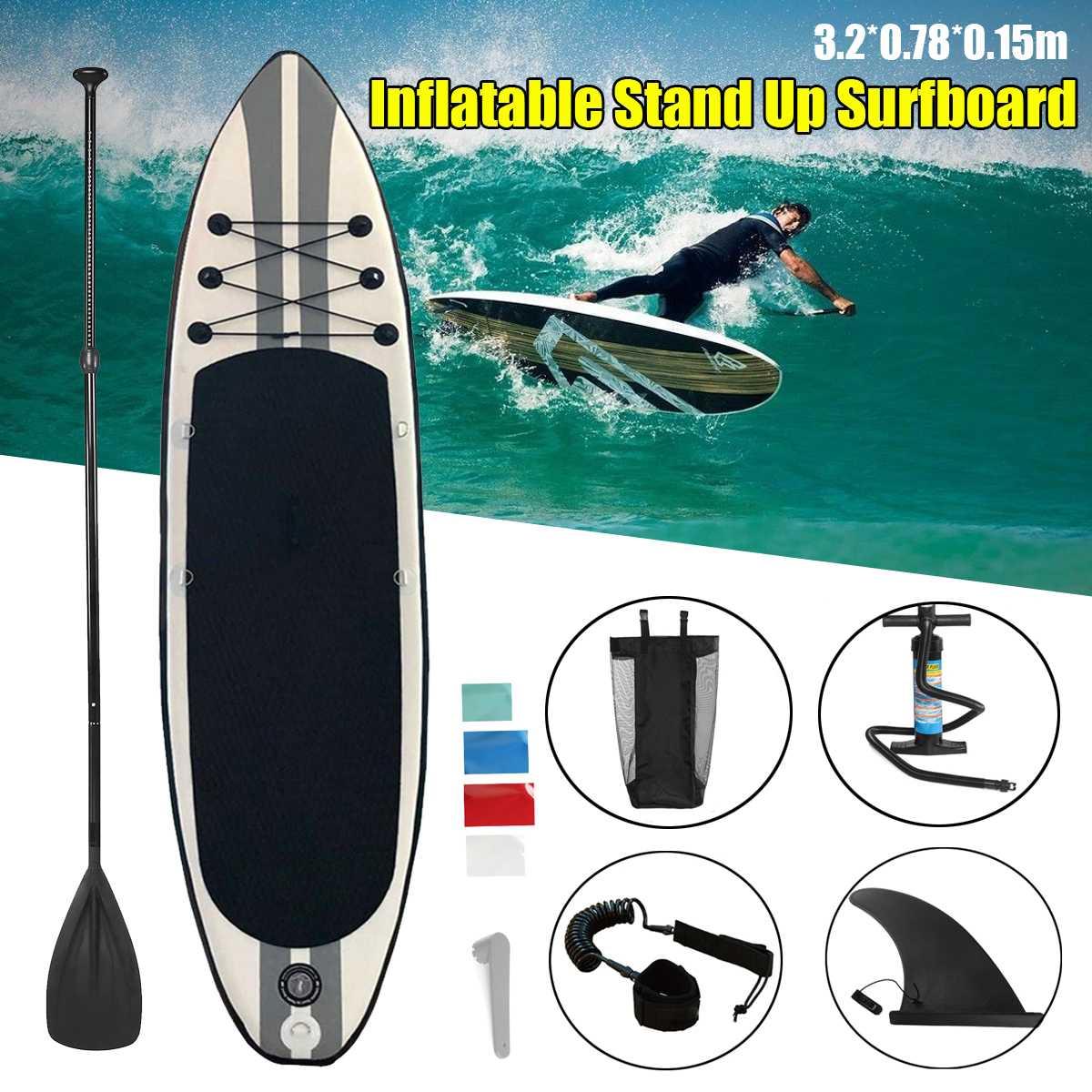 Inflable de tabla de surf 320x78x15 cm tabla de surf Paddle surf Junta agua deporte Junta + bomba cuerda de seguridad Kit de herramientas