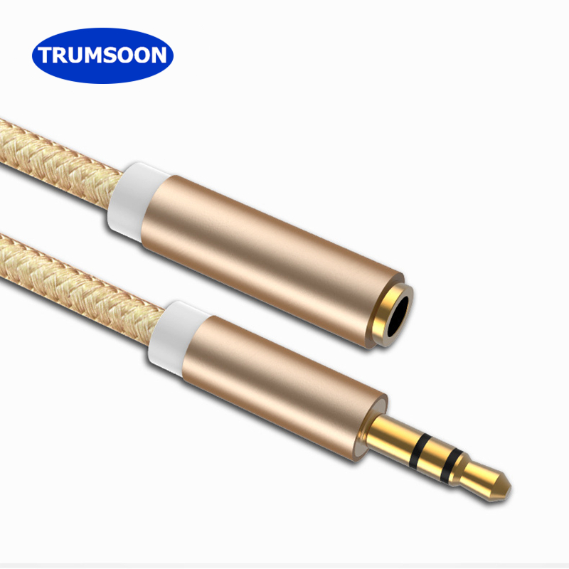Trumsoon 5pcs/lot 3.5mm Male to Female Extension Cable Audio AUX Cord Line for PC MP3 Speaker Phone Car Earphone