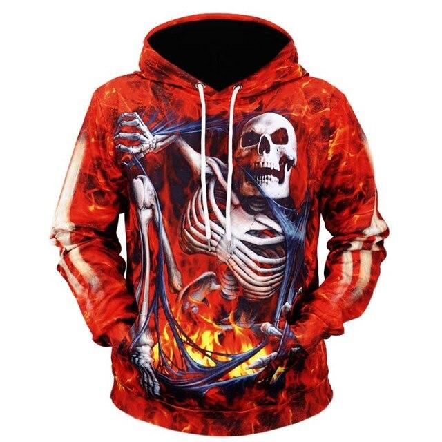 Sweat à capuche imprimé 3d sweat homme crâne Denim vestes manches longues Hip Hop Halloween Streetwear