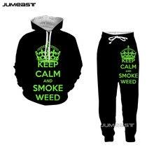 Jumeast 3D Print Green Smoke Weed Pattern Women/Men Hoodie Sweatshirt Fashion English Keep Calm Vests Pans Set Casual Suits