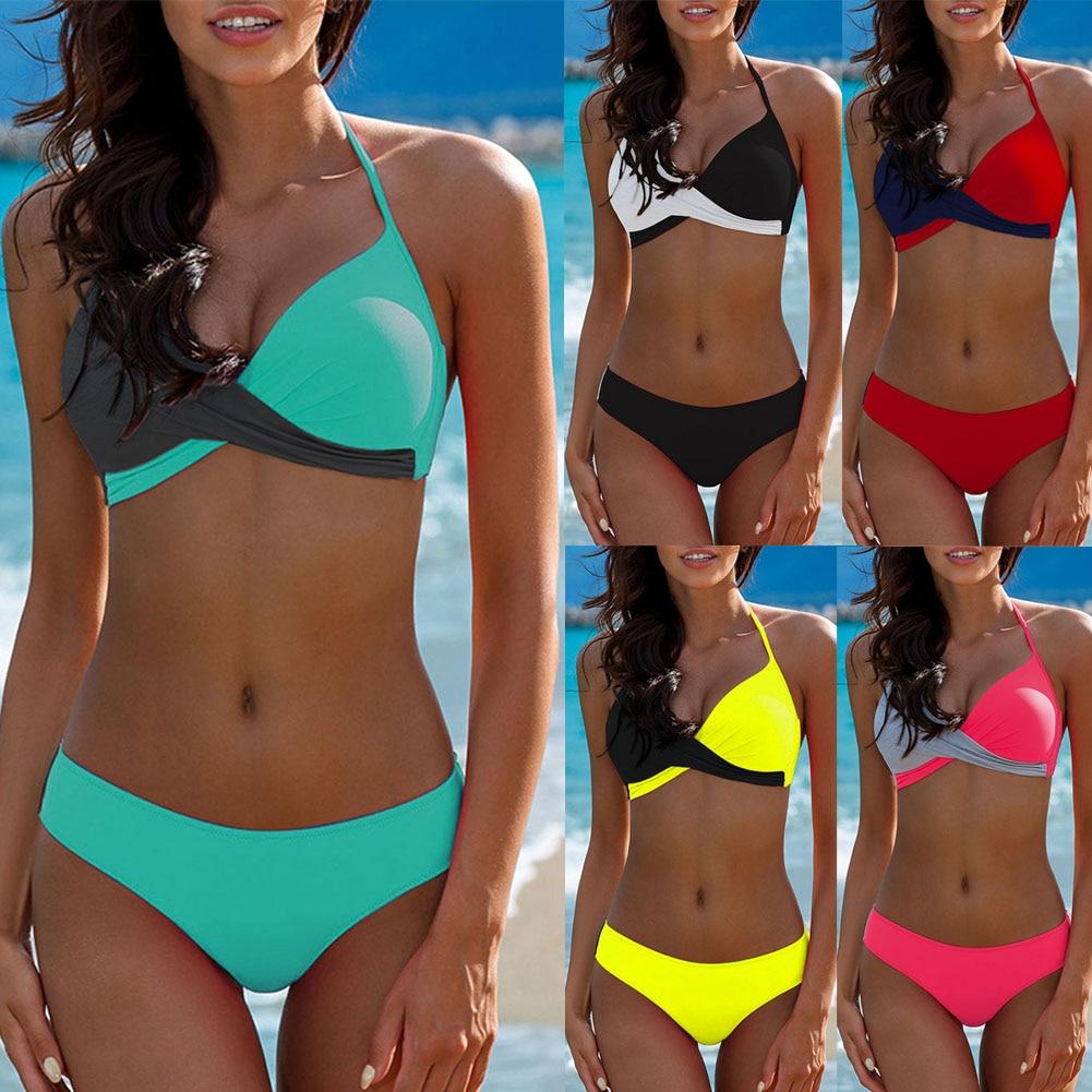 Hirigin Sexy Bikini Set 2019 Frauen Bademode Farbe Patchwork Gepolsterte Bh Falte Bandeau Badeanzug Plus Size Bademode Badeanzug