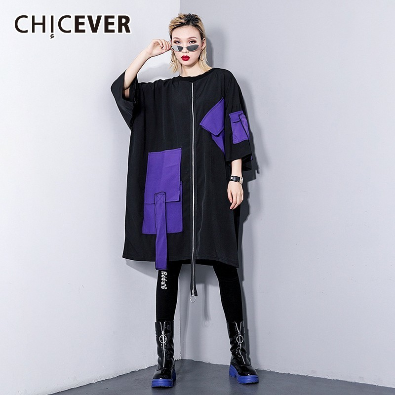 CHICEVER Spring Patchwork Pockets Between Zipper Women T shirt Dress O Neck Knee length Loose Slim
