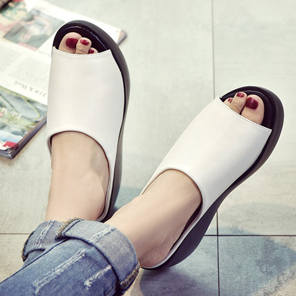 Women Sandals Platform Wedge PU Leather Mules Open Toe Slides Shoes Summer Size Black White Ladies Fashion Slides High Heel Shoe in Slippers from Shoes