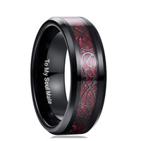 Male Wedding Jewelry 100% Tungsten Steel Ring For Men Red Carbon Fiber Dragon Rings TO MY SOUL MATE Couple Gift Ring Jewelry