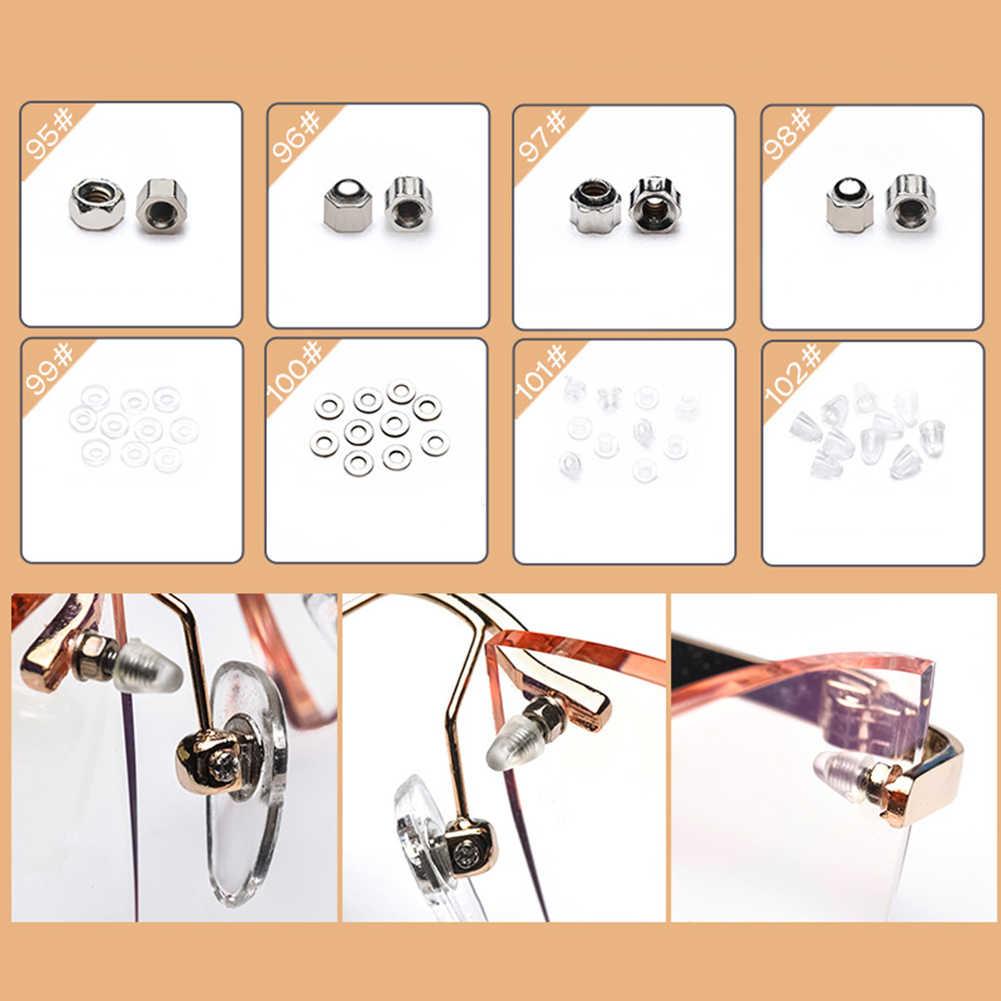 100 Adet Tiny Vidalar Set Sunglass Gözlükler Somun Seti Gözlük Silikon Burun Pedi Mikro Tornavida Onarım Aracı Küçük Cımbız Ile