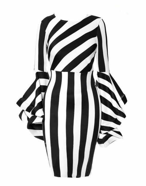 6XL большого размера, расклешенные рукава женское облегающее платье выше размера d Полосатое короткое платье с длинным рукавом платье для женщин халат Femme