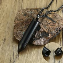 Men Bullet Pendant Necklace with Chain Can Be Open Ash Holder Perfume Container Stainless Steel Black Color(China)