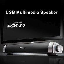 Портативный динамик 6 Вт проводной Саундбар динамик усилитель HIFI стерео звуковая панель с USB AUX микрофон для компьютера ПК