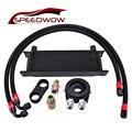 Двигатель SPEEDWOW 13 ряд гонок масляный радиатор + AN10 поворотный топливный шланг комплект + разделительный зажим + Масляный фильтр охладитель Сэ...