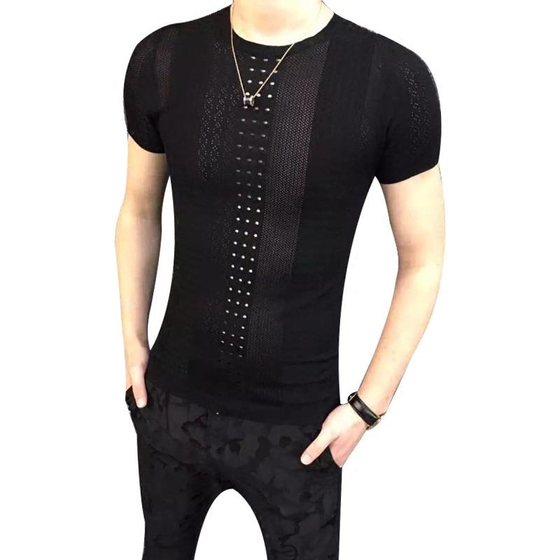 2018 summer new men's short-sleeved t-shirt Korean Slim collar ice silk hollow t-shirt youth personality trend Mensao T-shirt