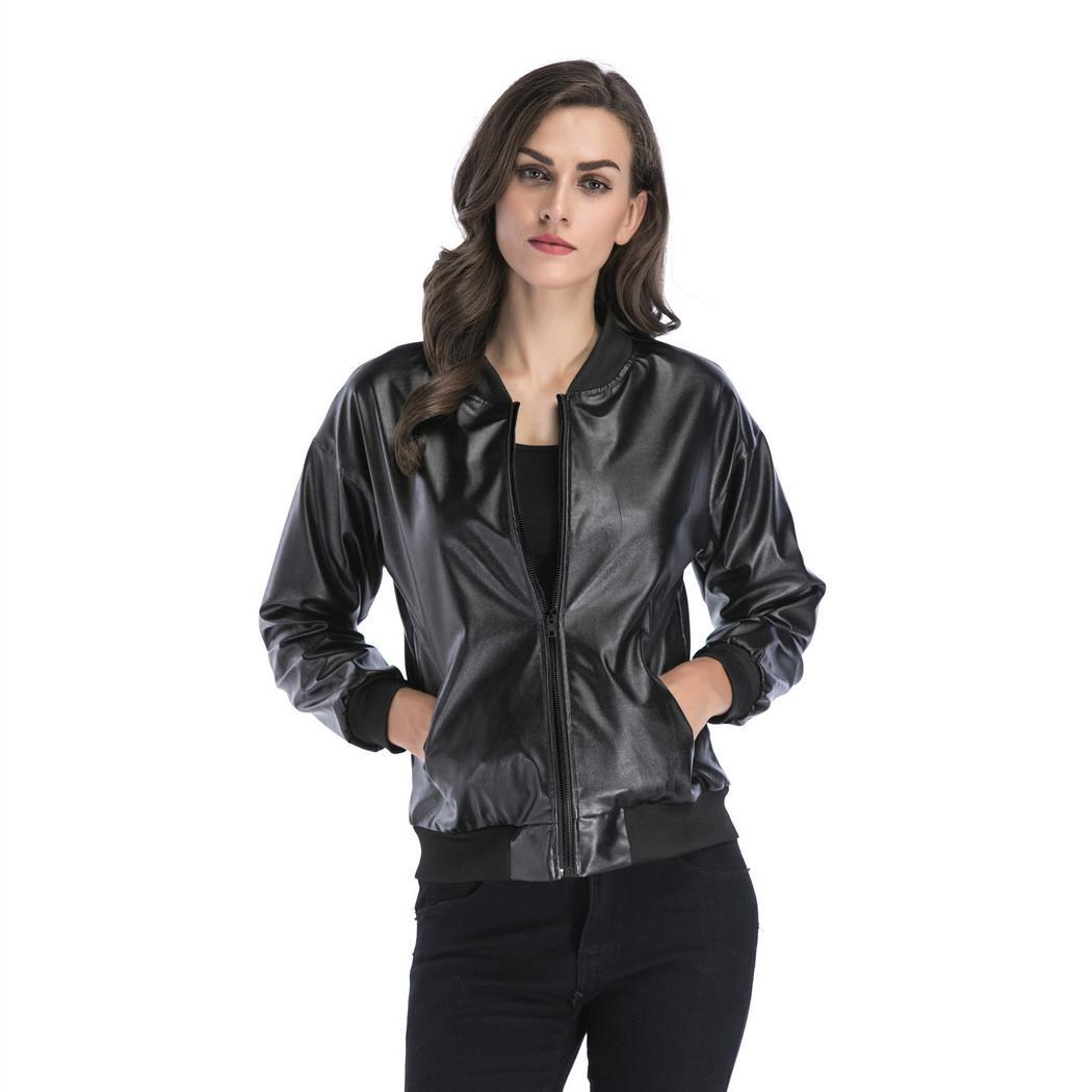 Women Casual Stand Collar Long Sleeve Synthetic Solid   Leather   Spring, Autumn Zipper Jacket Loose Regular