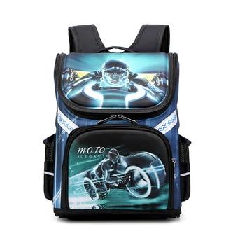 3D Cartoon Car printing Boys school bag Children Folded Orthopedic Backpack Schoolbags Kids Student 1-3 grade For Boy - discount item  30% OFF School Bags