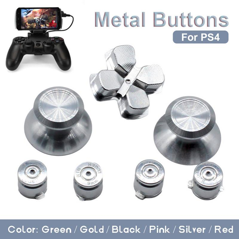 7PCS Controller Metal Buttons Set Mushroom Head + Cross Key + Function Key Metal ABXY Button Spare Parts Accessories For PS4
