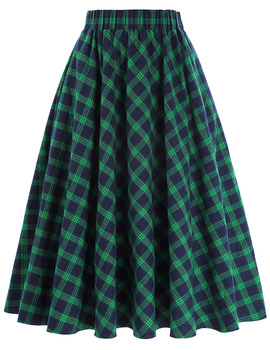 Kate Kasin Women Skirts Summer Plaid Elegant Pleated Skirts Female Plaid Skirts Skater 50s Swing Vintage Skirts Womens фото