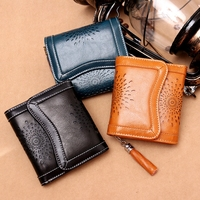 Best Selling Women Clutch Bag Leather Wallet Female Fashion Hollow Three Fold Ladies Short Wallet