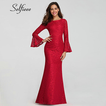 Long Sleeve Dress Women 2019 Elegant Mermaid O Neck Flare Sleeve Lace Party Dress New Design Long Bodycon Dress Red Gothic Dress