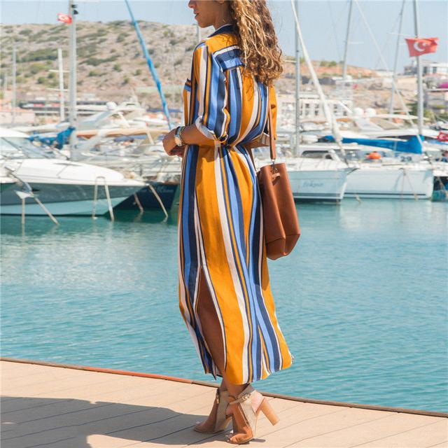 Maxi Shirt Dress Women Summer Beach Casual Work Trend Boho Elegant Vintage Button Bodycon Casual Striped Long Dresses Plus Size
