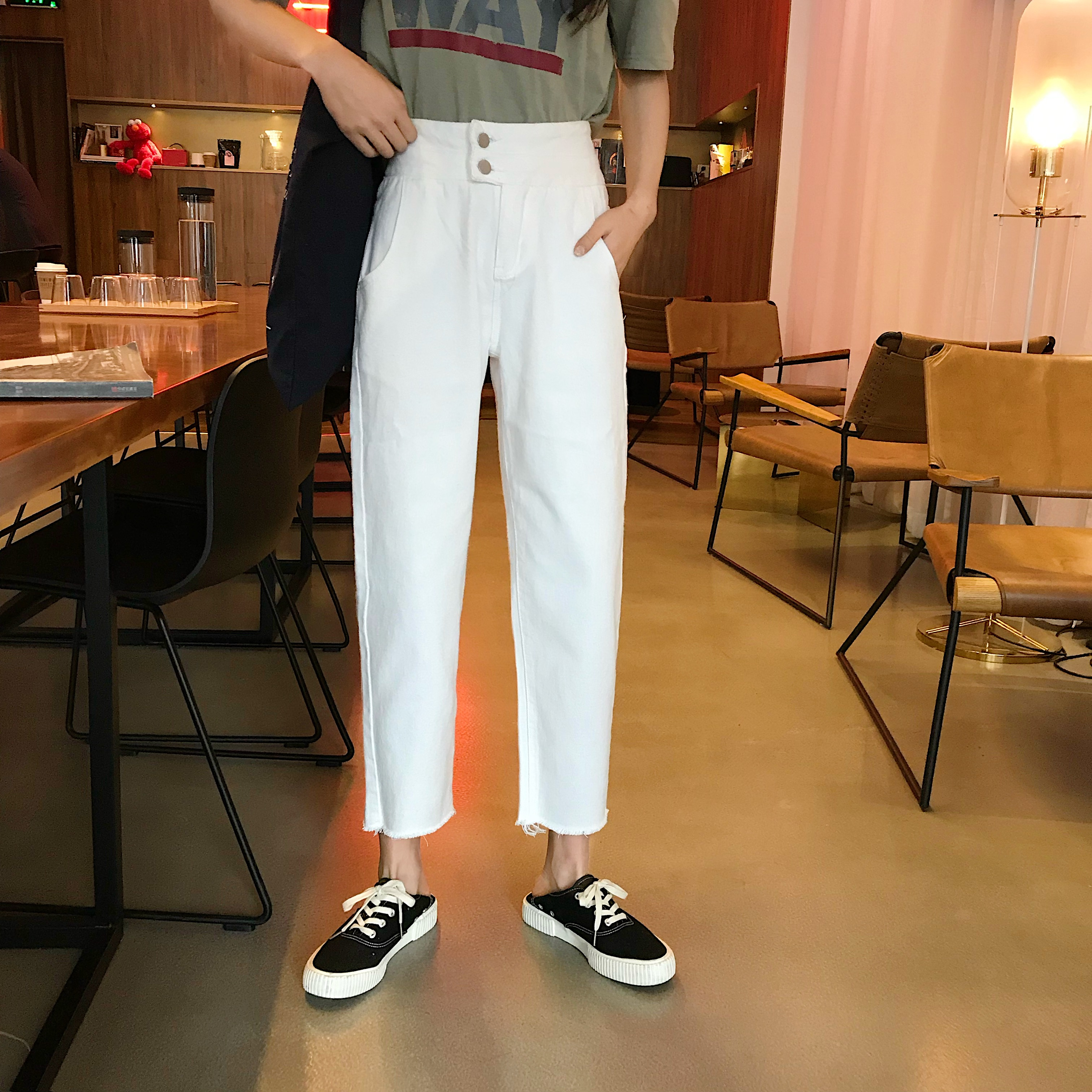 Chic Retro High Waist Boyfriend Jeans For Women Casual Long Loose Straight Jeans Washed Double Buckle Button Push Up Denim Jeans