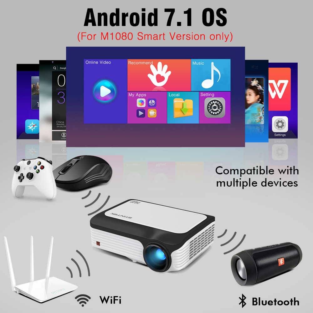 BYINTEK completo HD proyector M1080 contra salpicaduras y bandeja para viruta, lámina de acero 1920mm para 1080P inteligente (1 GB, 2GB + 16GB Android proyector wi-fi portátil LED Mini proyector para 3D 4K de cine