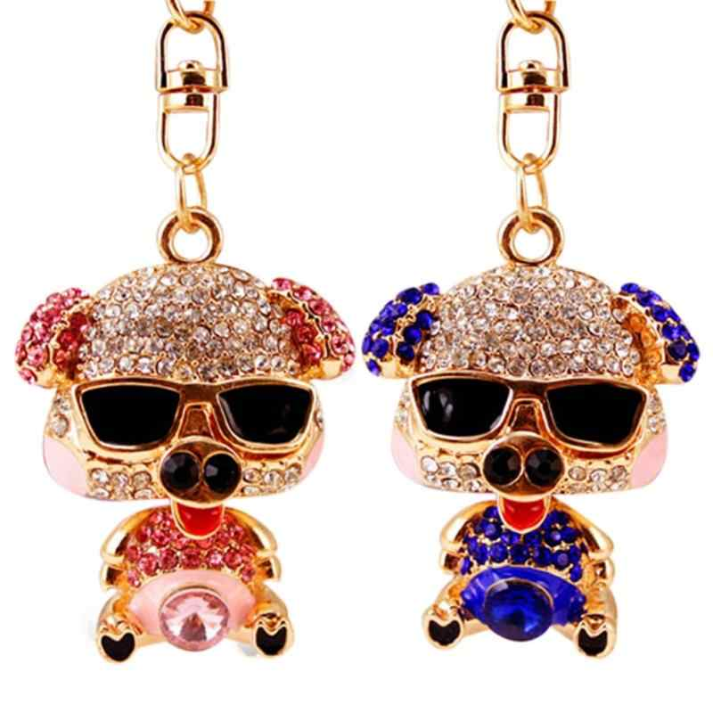 Simple Cute Zinc Alloy Key Ring with Pig Shape Pendant Rhinestone Decoration Keychain