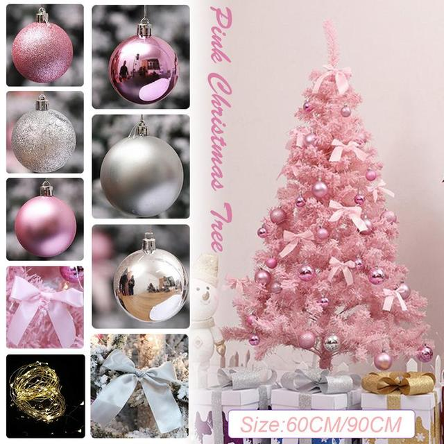 Us 21 16 29 Off Pink Christmas Tree With Led Light Diy Artificial Christmas Tree Xmas Party Holiday Ornament Home Decor Office Decorations In Trees