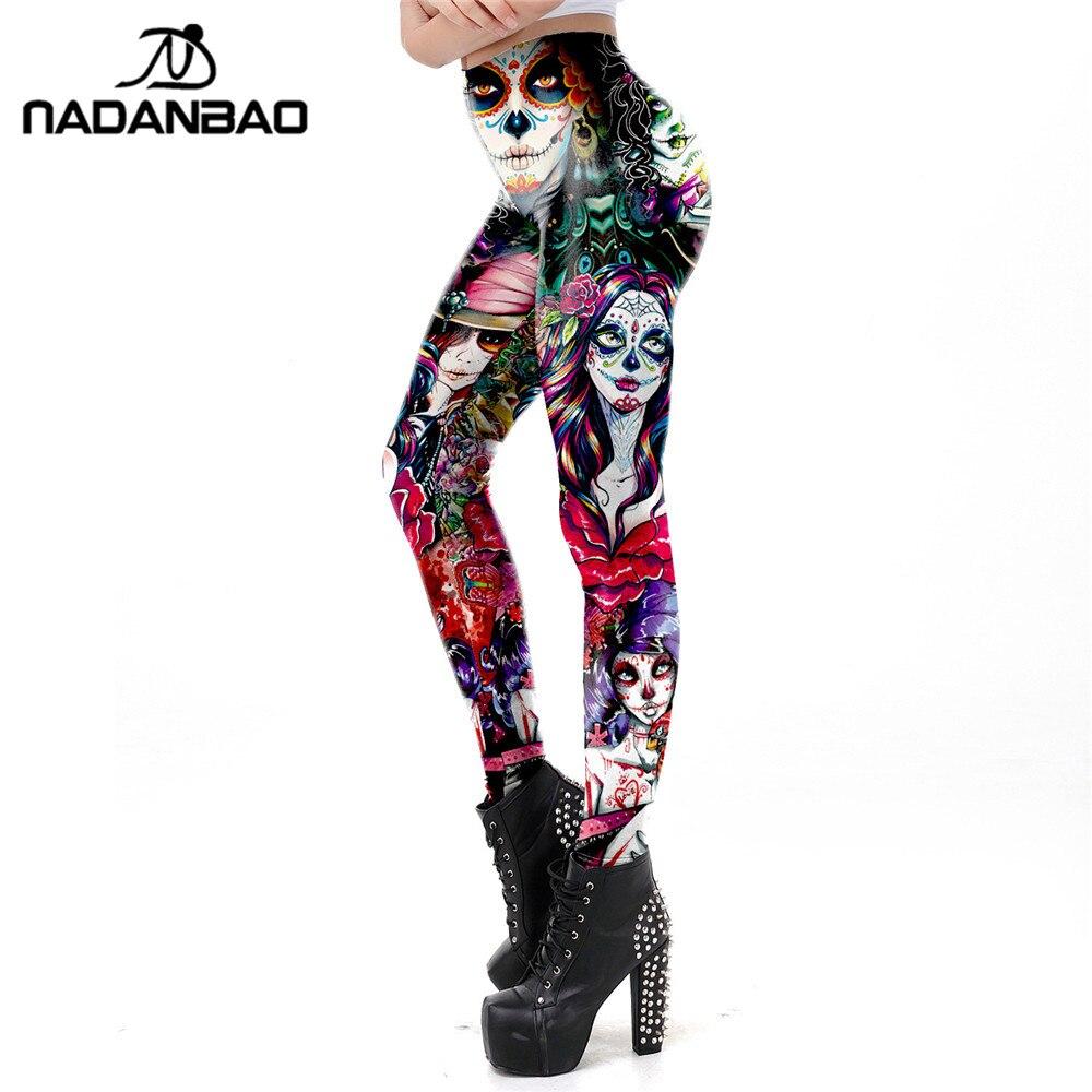NADANBAO The Dead Girl Skull Horrible Scary Women   leggings   Print Fitness Workout   Legging   High waist legins for Girl