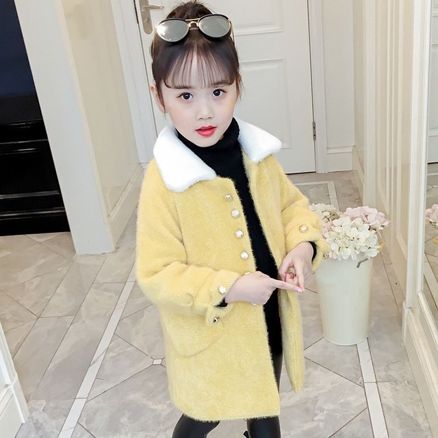 ce2ff82350fb Pink Yellow Children Woolen Trench Coats For Kids Fashion 2019 ...
