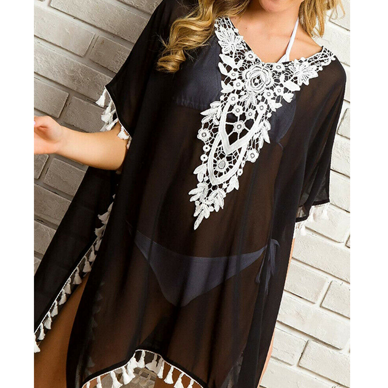 Women Beach Dress Lace Bikini Swimwear Cover Up Bathing Suit Cover Up Summer Saida De Praia Feminino 2019 Beach Tunic Blouse