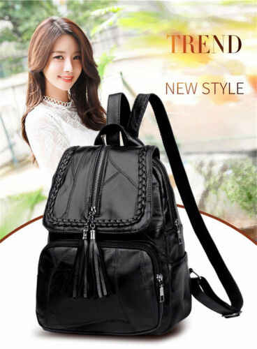 Cool Women Girls Ladies Backpack Travel Shoulder Bag Faux Leather Rucksack