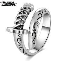 ZABRA Genuine 925 Sterling Silver Punk Rings Mens Signet Rings Knife Saber Warrior Weapons Adjustable Ring Biker Men Jewellry