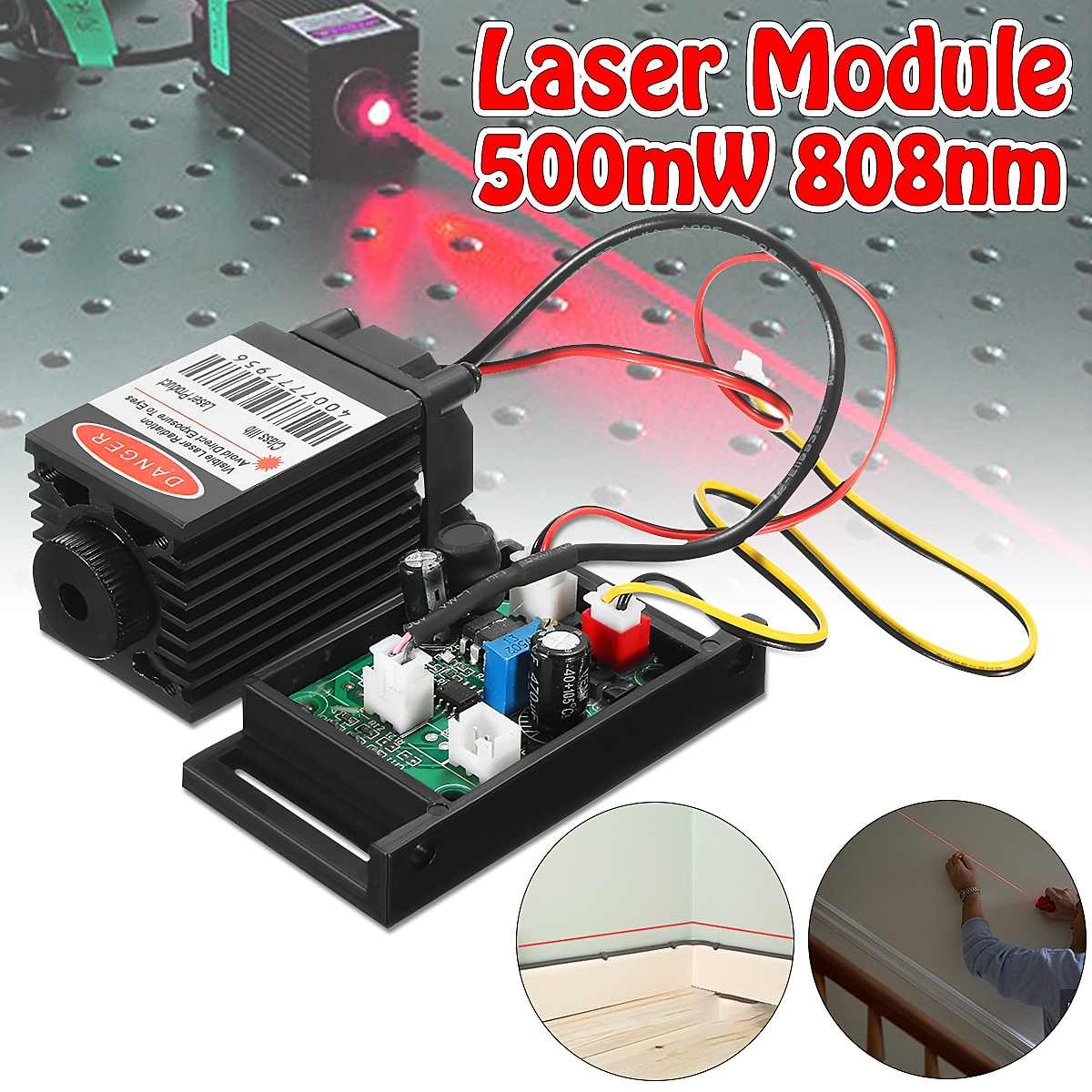 Focusable 500mw 808nm Infrared IR Laser Module Diode Dot Module 12V+ TTL+ Fan Cooling Laser Module For CNC Engraving Machine