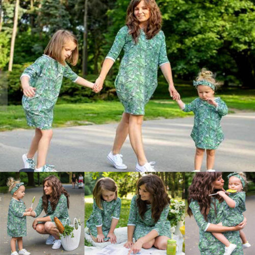 Mom and Daughter Fashion Floral Dress