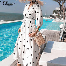 Celmia 2019 Summer Women's Dress Korean Style V-neck Maxi Long Dress Casual 3/4 Sleeve Belt Female Dot Print Vestidos Plus Size