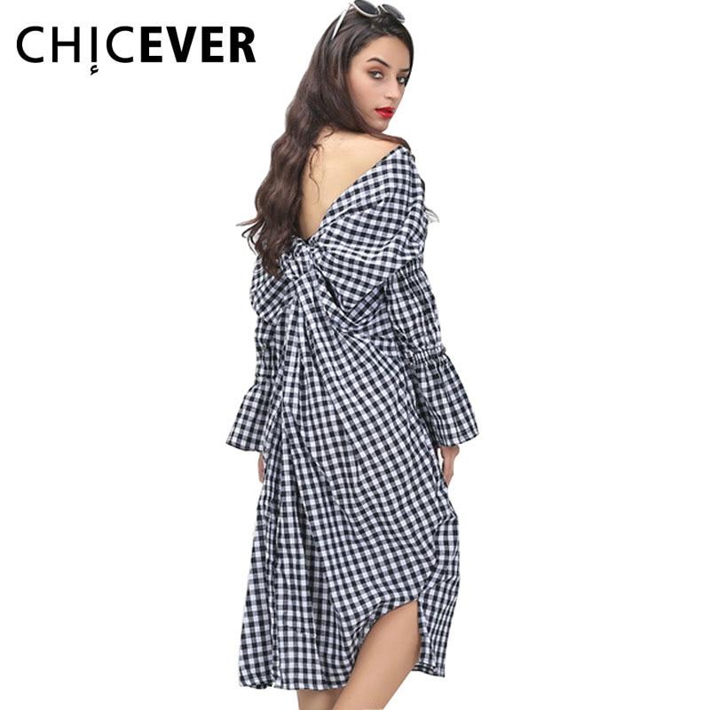 1e22d5e48e56f CHICEVER 2017 Yaz Kadın Ekose V Yaka Geri Düğüm Gömlek Elbiseler Kadın  Kişilik Pilili Gevşek Casual Giyim Kore Moda