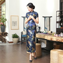 Oriental Style Dresses China Large Sizes Evening Cheongsam Long Restore Ancient Lady Mom Qipao Performance Serve Robe Satin XXXL